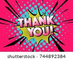 vector thank you sign. colorful ... | Shutterstock .eps vector #744892384