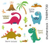 cute vector dinosaurs isolated... | Shutterstock .eps vector #744894730