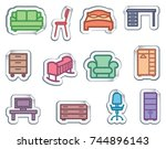 simple icons of furniture on... | Shutterstock .eps vector #744896143