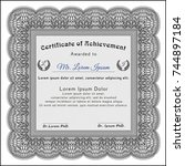 grey certificate or diploma... | Shutterstock .eps vector #744897184