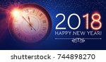 happy new 2018 year background... | Shutterstock .eps vector #744898270