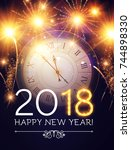 happy new 2018 year background... | Shutterstock .eps vector #744898330