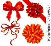 ribbon and bow decoration... | Shutterstock .eps vector #744899134