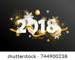 new year 2018. greeting card | Shutterstock .eps vector #744900238