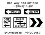 regulatory traffic sign. one... | Shutterstock .eps vector #744901453