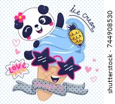 Stock vector cartoon cute panda girl with ice cream wearing sunglasses on polka dot background illustration 744908530