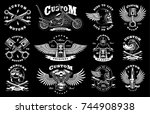 set of vintage custom... | Shutterstock . vector #744908938