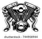 monster engine isolated on... | Shutterstock . vector #744908944