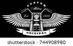 vintage motorcycle with wings... | Shutterstock . vector #744908980