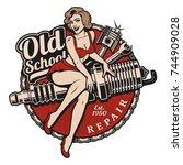 spark plug pin up girl... | Shutterstock . vector #744909028