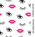 seamless pattern with mouth and ... | Shutterstock .eps vector #744911074