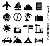 vacation and travel icons | Shutterstock .eps vector #74491225