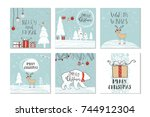 set of 6 cute christmas gift... | Shutterstock .eps vector #744912304