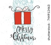 cute christmas gift card with... | Shutterstock .eps vector #744912463