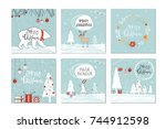 set of 6 cute christmas gift... | Shutterstock .eps vector #744912598
