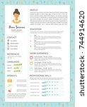 feminine resume with... | Shutterstock .eps vector #744914620