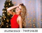 portrait of beautiful woman in... | Shutterstock . vector #744914638