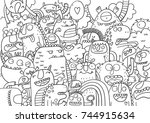 cute monster coloring page | Shutterstock .eps vector #744915634