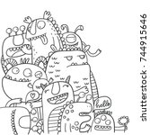 cute monster coloring page | Shutterstock .eps vector #744915646