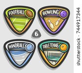 vector set of sport logos  4... | Shutterstock .eps vector #744917344