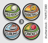 vector set of sport logos  4... | Shutterstock .eps vector #744917380