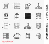 server icons vector | Shutterstock .eps vector #744917836