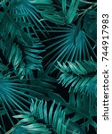 tropical palm leaves. seamless... | Shutterstock . vector #744917983