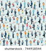 people crowd seamless flat... | Shutterstock .eps vector #744918544