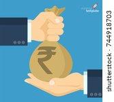flat design indian rupee vector ... | Shutterstock .eps vector #744918703