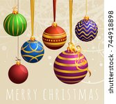 christmas poster and greeting... | Shutterstock .eps vector #744918898