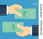 flat design indian rupee... | Shutterstock .eps vector #744918910