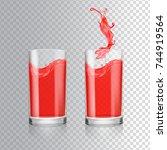 red juice in glass. grapefruit  ... | Shutterstock .eps vector #744919564
