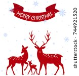 merry christmas with deer... | Shutterstock .eps vector #744921520