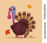 happy smiling turkey....   Shutterstock .eps vector #744922054