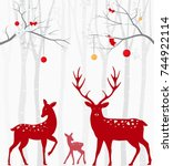 red christmas deer with birch... | Shutterstock . vector #744922114