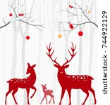 red christmas deer with birch... | Shutterstock .eps vector #744922129