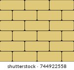 vector wall of yellow bricks on ... | Shutterstock .eps vector #744922558