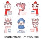 set of hand drawn cute funny... | Shutterstock .eps vector #744922708
