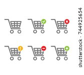 shopping carts icon collection  ... | Shutterstock .eps vector #744925654