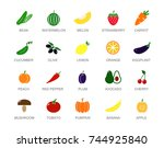 set of colored vegetable and... | Shutterstock .eps vector #744925840