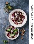 vegetarian beetroot carpaccio... | Shutterstock . vector #744926893