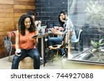 young diverse people studying... | Shutterstock . vector #744927088