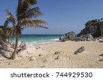 tulum beach  ancient mayan city ... | Shutterstock . vector #744929530