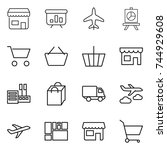 thin line icon set   shop ... | Shutterstock .eps vector #744929608