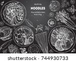 asian food engraved sketch.... | Shutterstock .eps vector #744930733