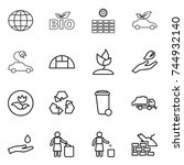 thin line icon set   globe  bio ... | Shutterstock .eps vector #744932140