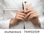 close up woman hands in white... | Shutterstock . vector #744932539