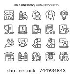 human resources  bold line... | Shutterstock .eps vector #744934843