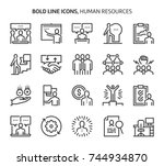 human resources  bold line... | Shutterstock .eps vector #744934870