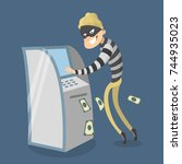 thief stealing money from atm.... | Shutterstock .eps vector #744935023
